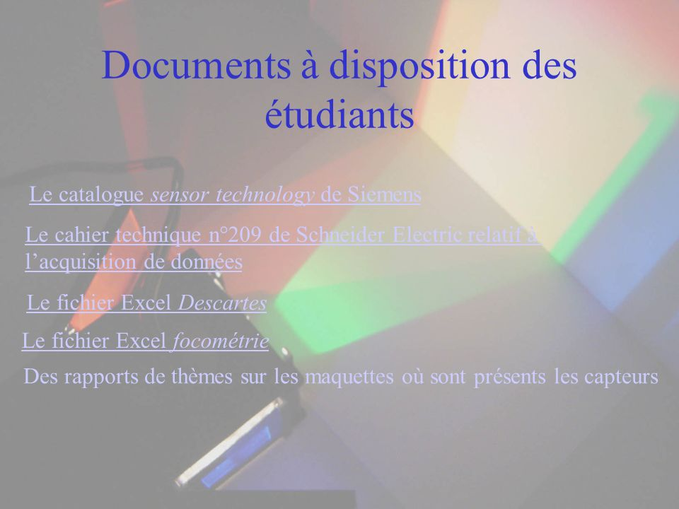 Documents à disposition des étudiants