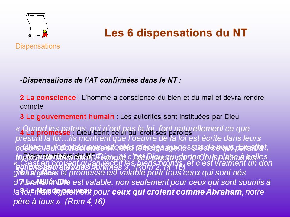 Les 6 dispensations du NT