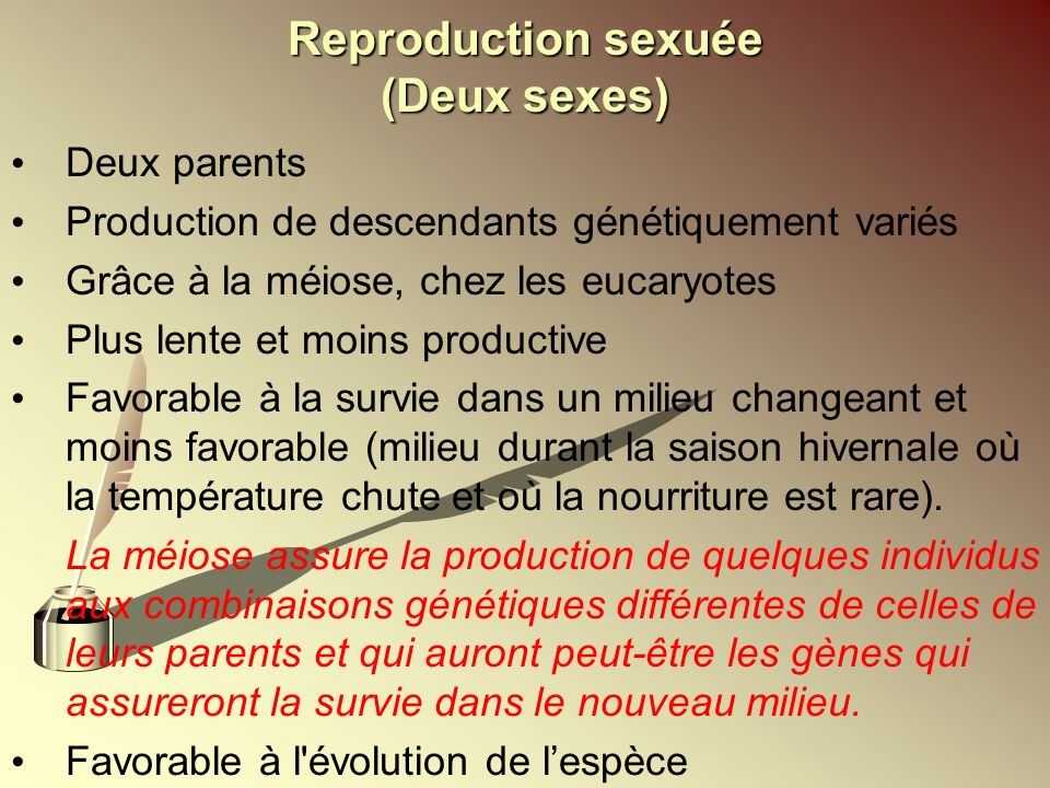 Reproduction sexuée (Deux sexes)