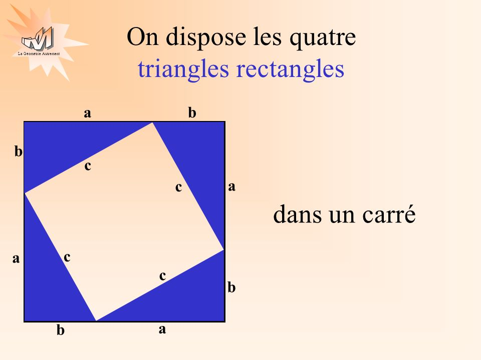 On dispose les quatre triangles rectangles