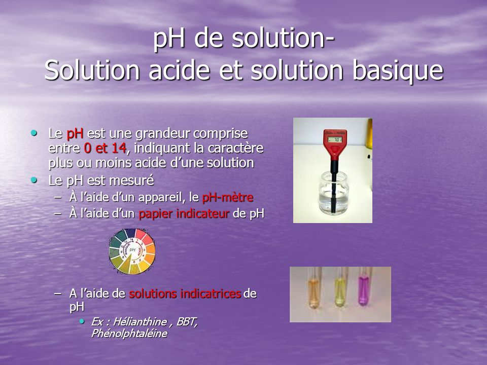 pH de solution- Solution acide et solution basique
