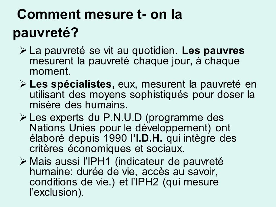 Comment mesure t- on la pauvreté