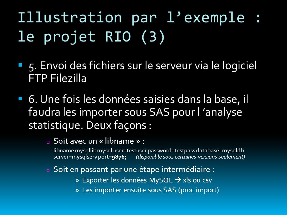 Illustration par l'exemple : le projet RIO (3)
