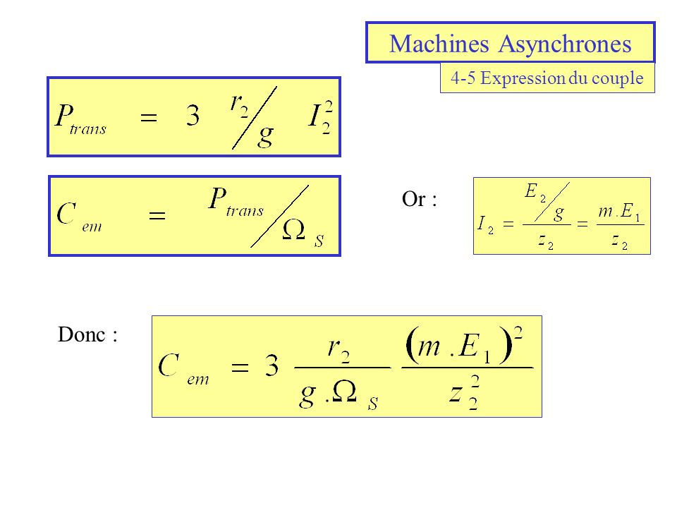 Machines Asynchrones 4-5 Expression du couple Or : Donc :