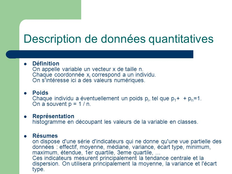 Description de données quantitatives