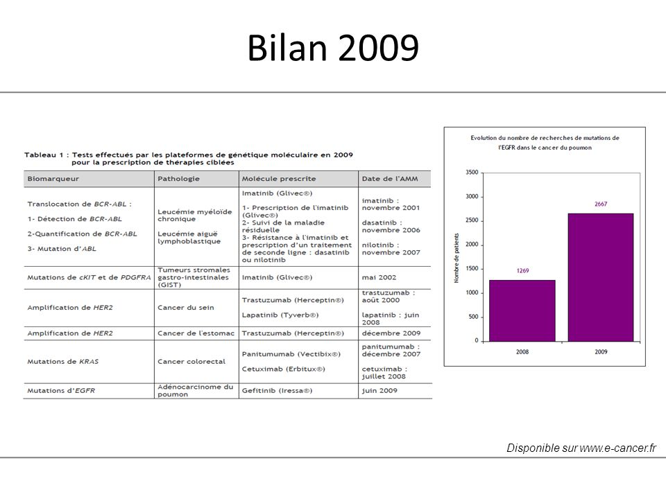 Bilan 2009 Disponible sur www.e-cancer.fr