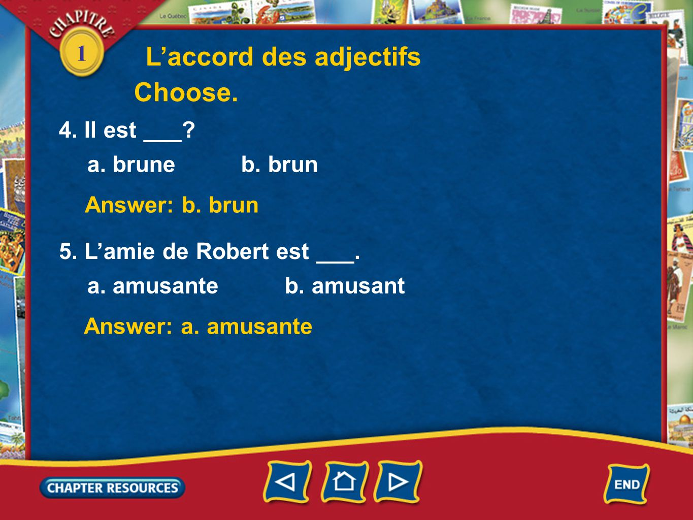 L'accord des adjectifs Choose.