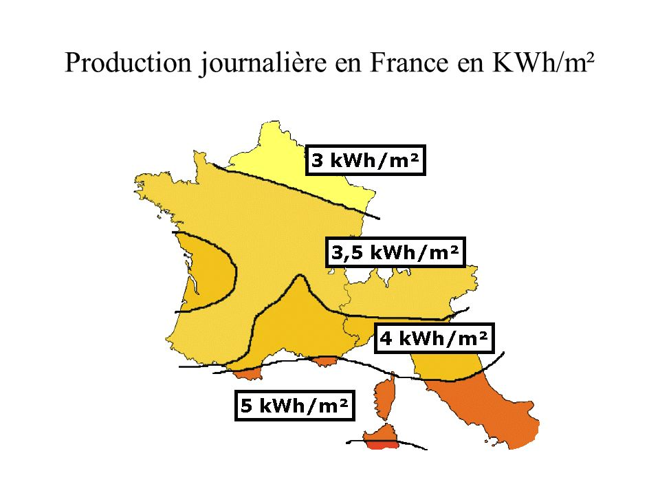 Production journalière en France en KWh/m²