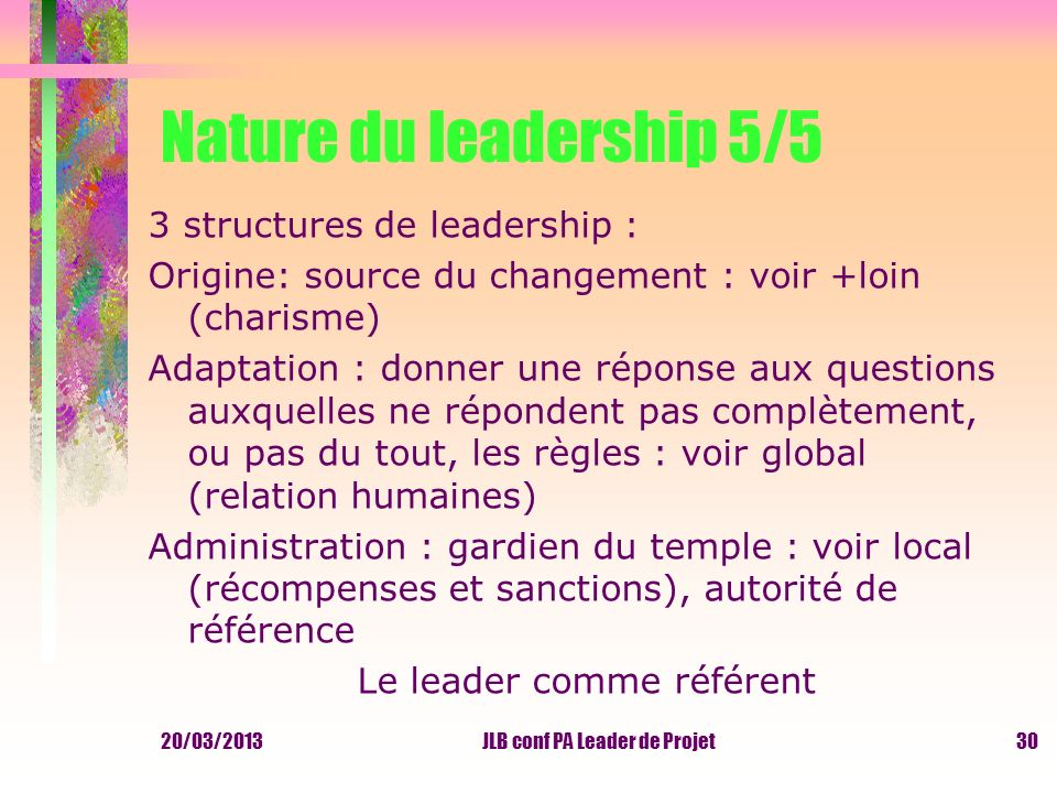 Nature du leadership 5/5 3 structures de leadership :