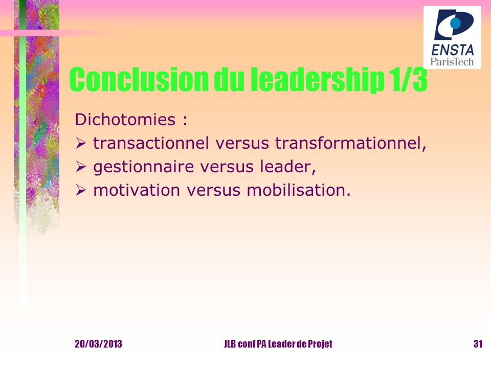 Conclusion du leadership 1/3