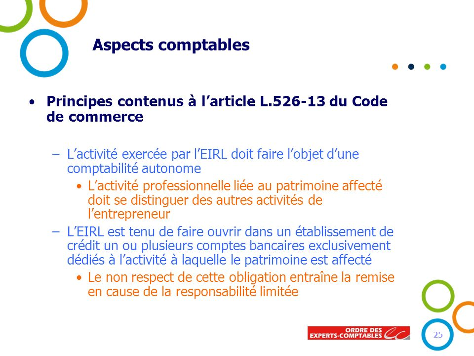 Aspects comptables Principes contenus à l'article L.526-13 du Code de commerce.