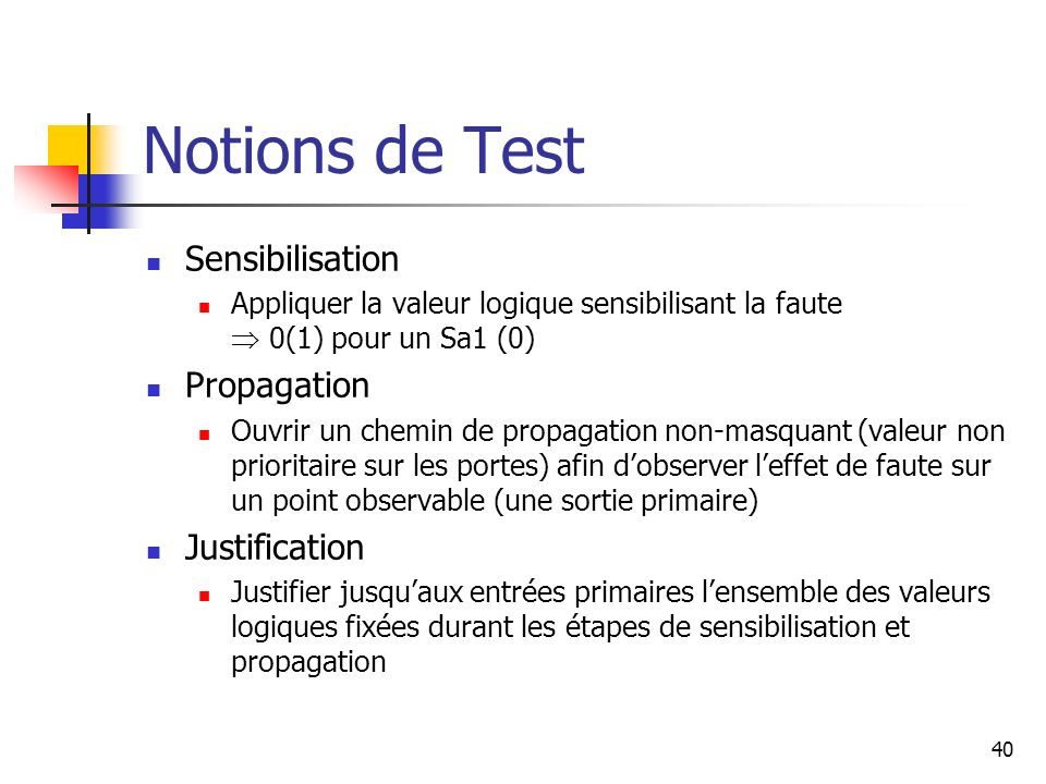 Notions de Test Sensibilisation Propagation Justification