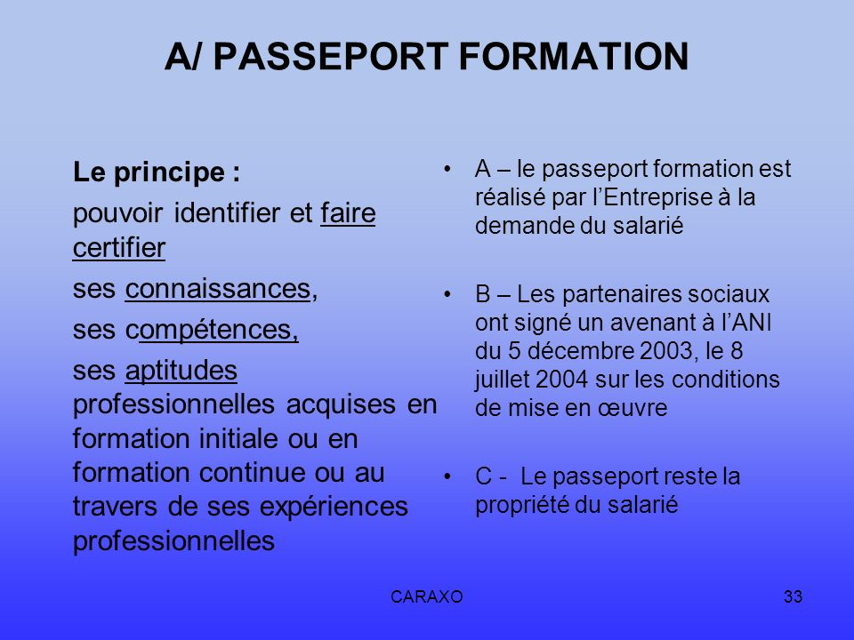 A/ PASSEPORT FORMATION