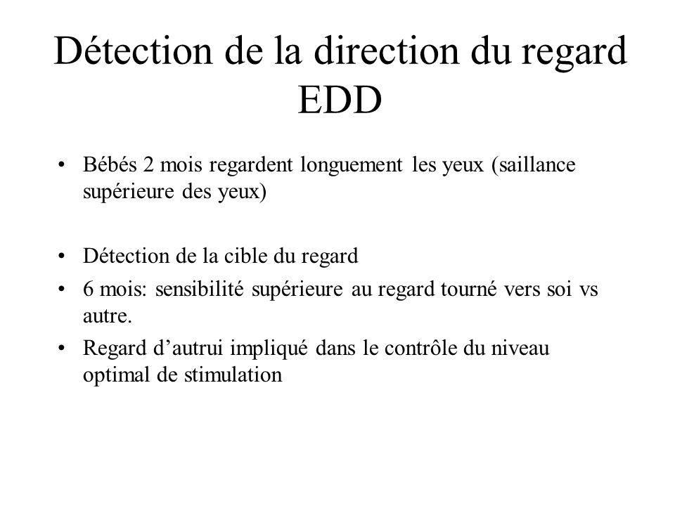 Détection de la direction du regard EDD