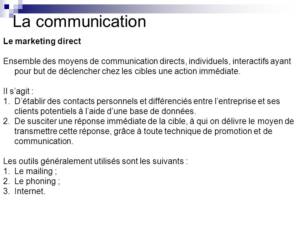 La communication Le marketing direct