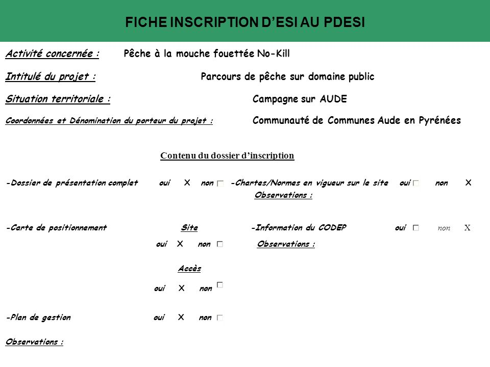 FICHE INSCRIPTION D'ESI AU PDESI