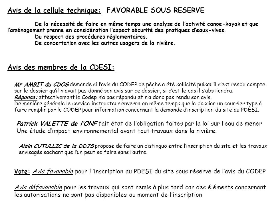 Avis de la cellule technique: FAVORABLE SOUS RESERVE