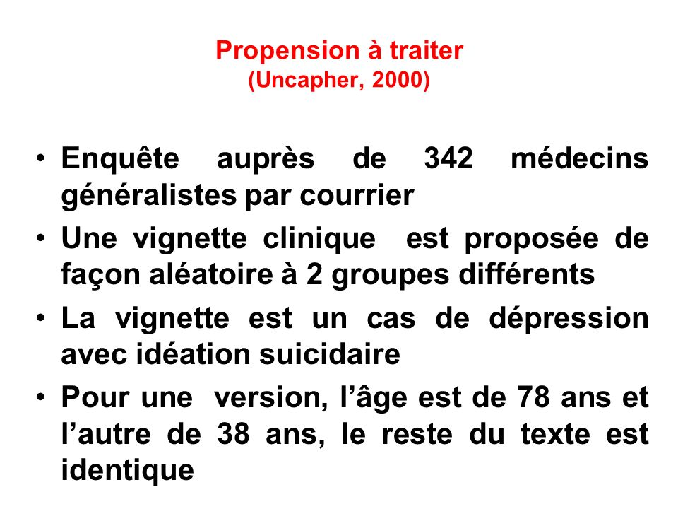 Propension à traiter (Uncapher, 2000)