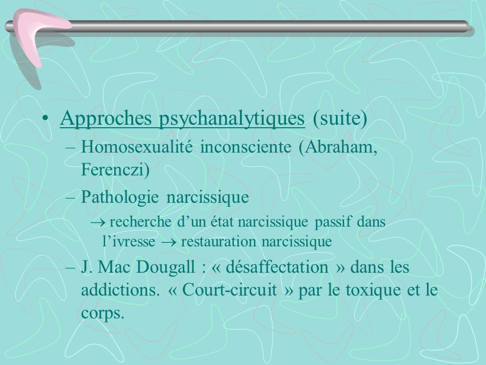 Approches psychanalytiques (suite)