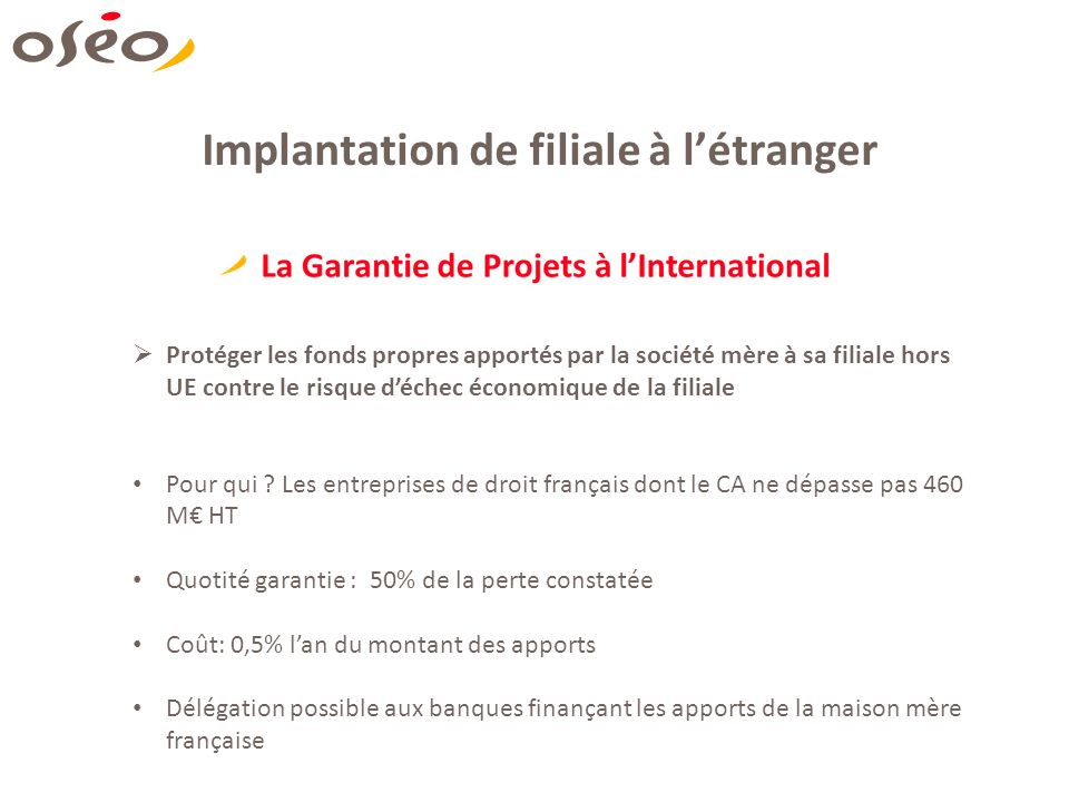 Implantation de filiale à l'étranger