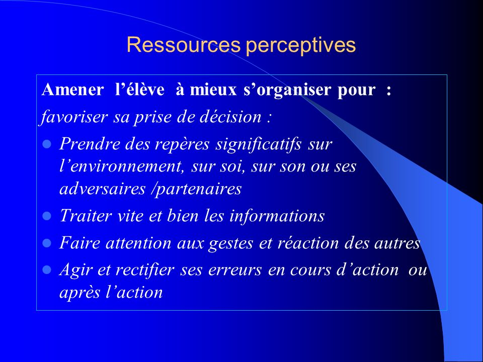 Ressources perceptives