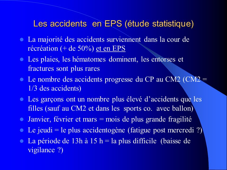 Les accidents en EPS (étude statistique)