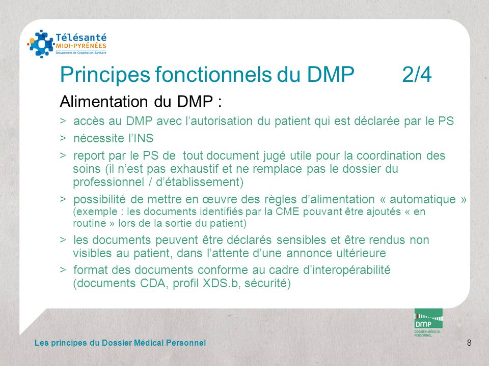 Principes fonctionnels du DMP 2/4