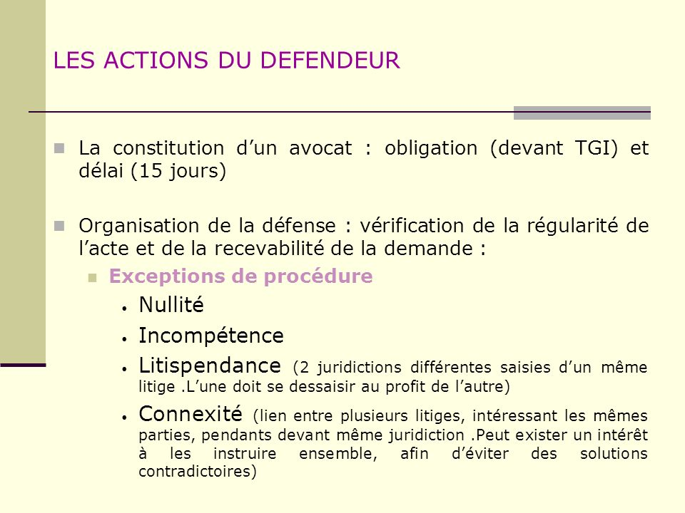LES ACTIONS DU DEFENDEUR