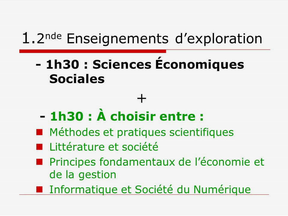 1.2nde Enseignements d'exploration