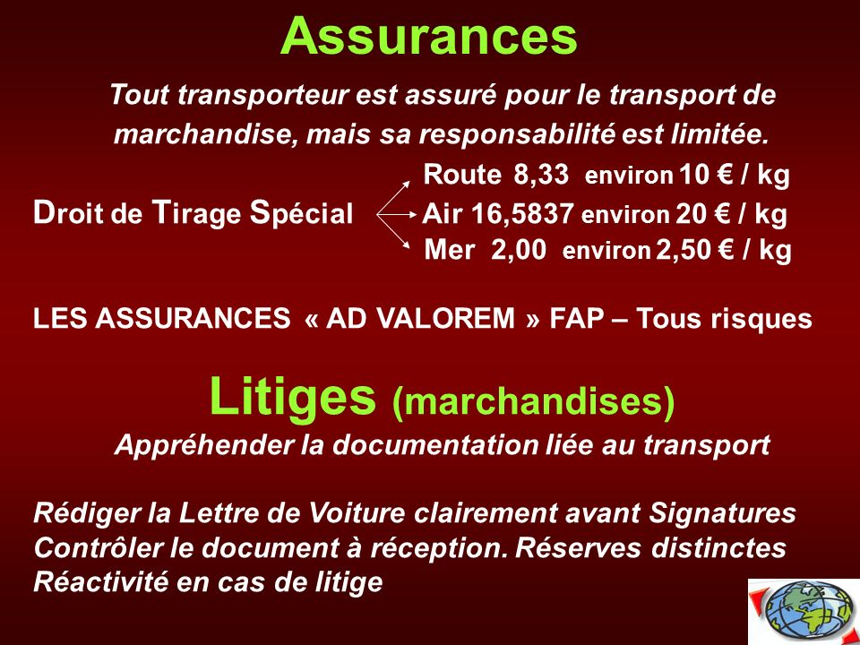 Litiges (marchandises) Appréhender la documentation liée au transport