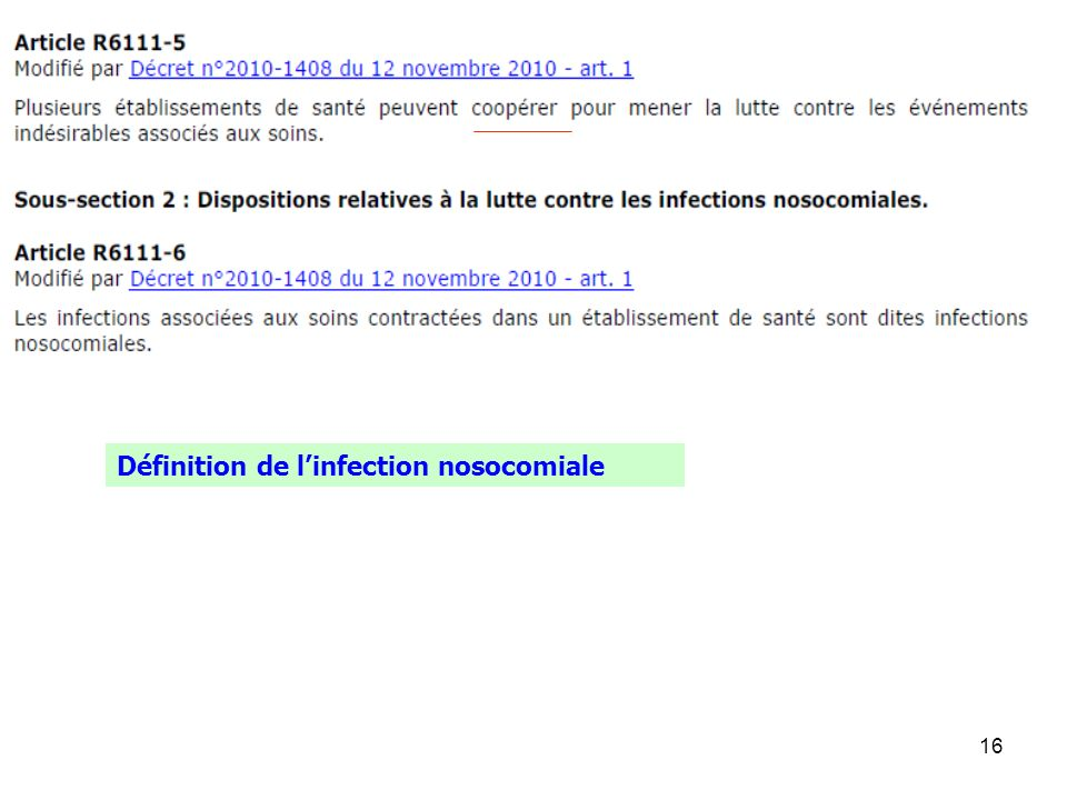Définition de l'infection nosocomiale