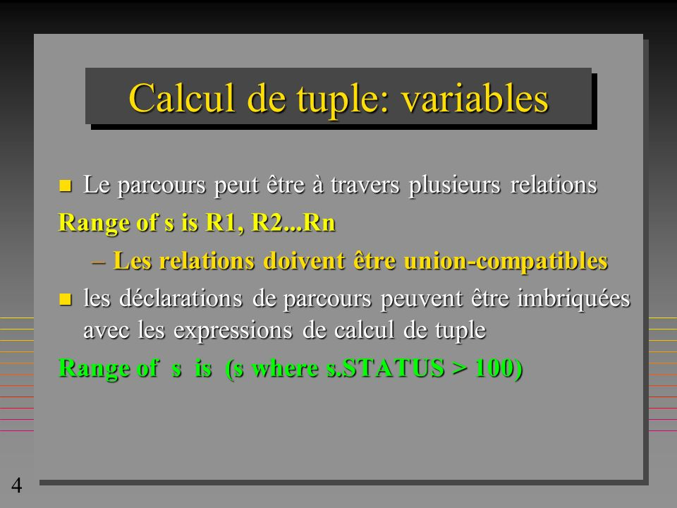 Calcul de tuple: variables