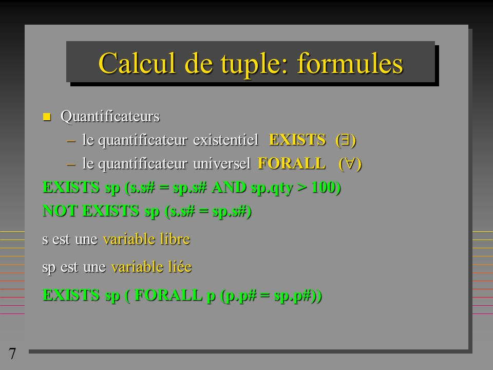 Calcul de tuple: formules