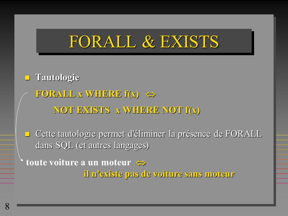 FORALL & EXISTS Tautologie FORALL x WHERE f(x) 