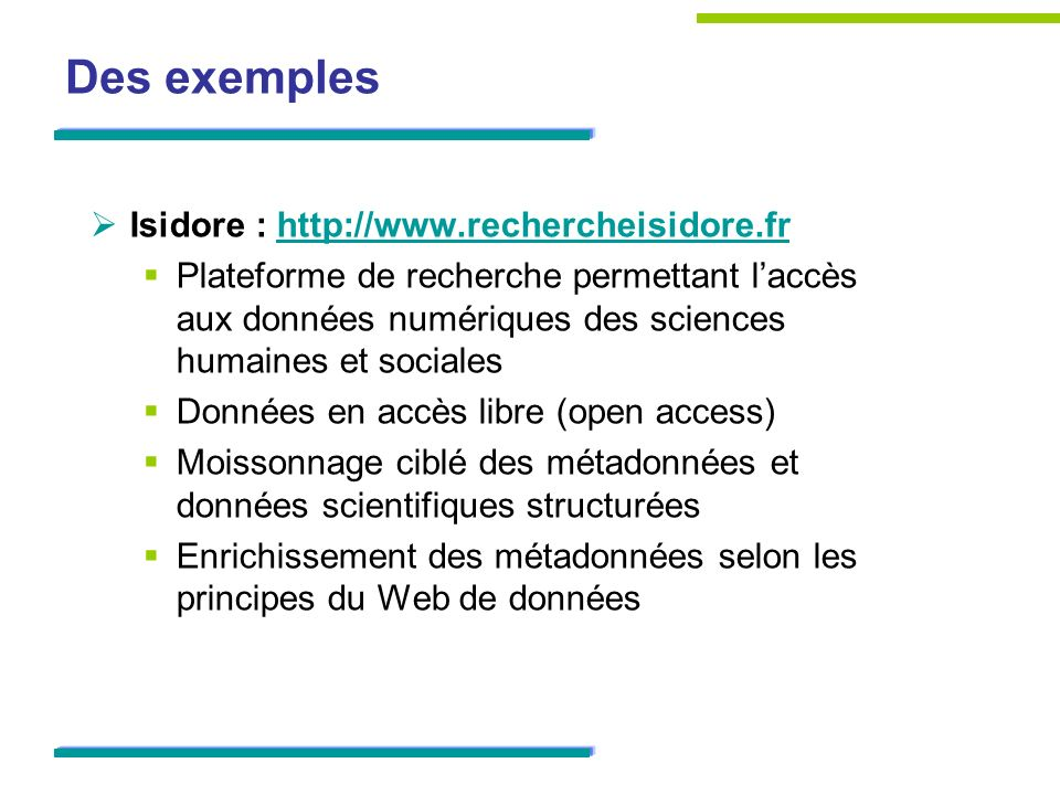 Des exemples Isidore :