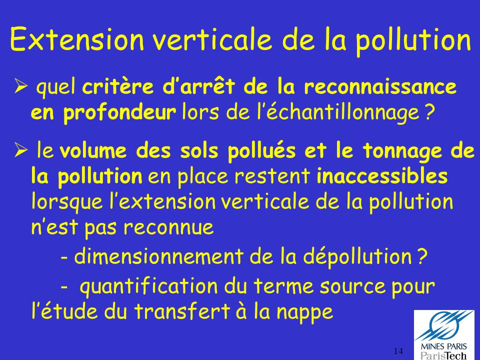 Extension verticale de la pollution