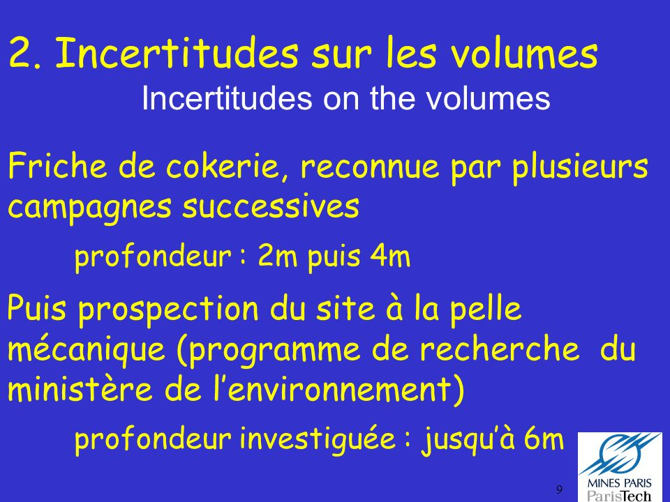 2. Incertitudes sur les volumes Incertitudes on the volumes