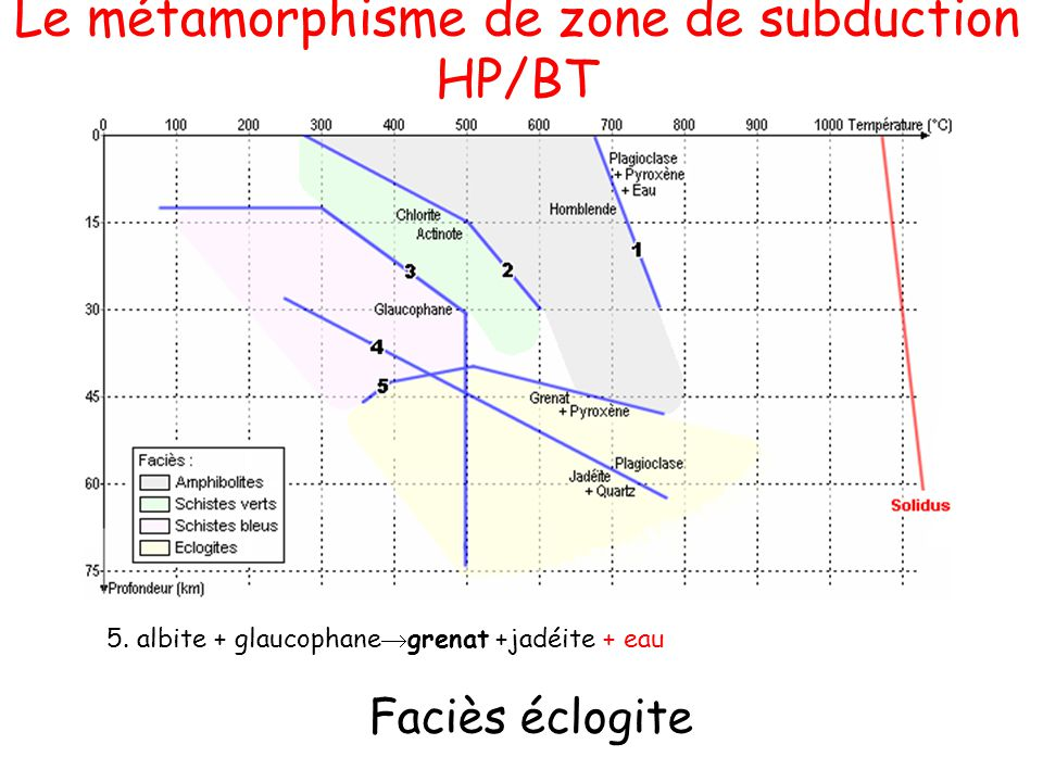Le métamorphisme de zone de subduction HP/BT
