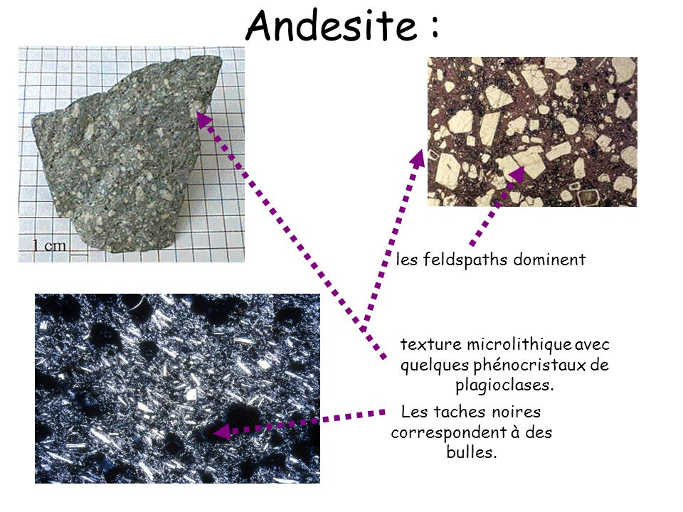 Andesite : les feldspaths dominent
