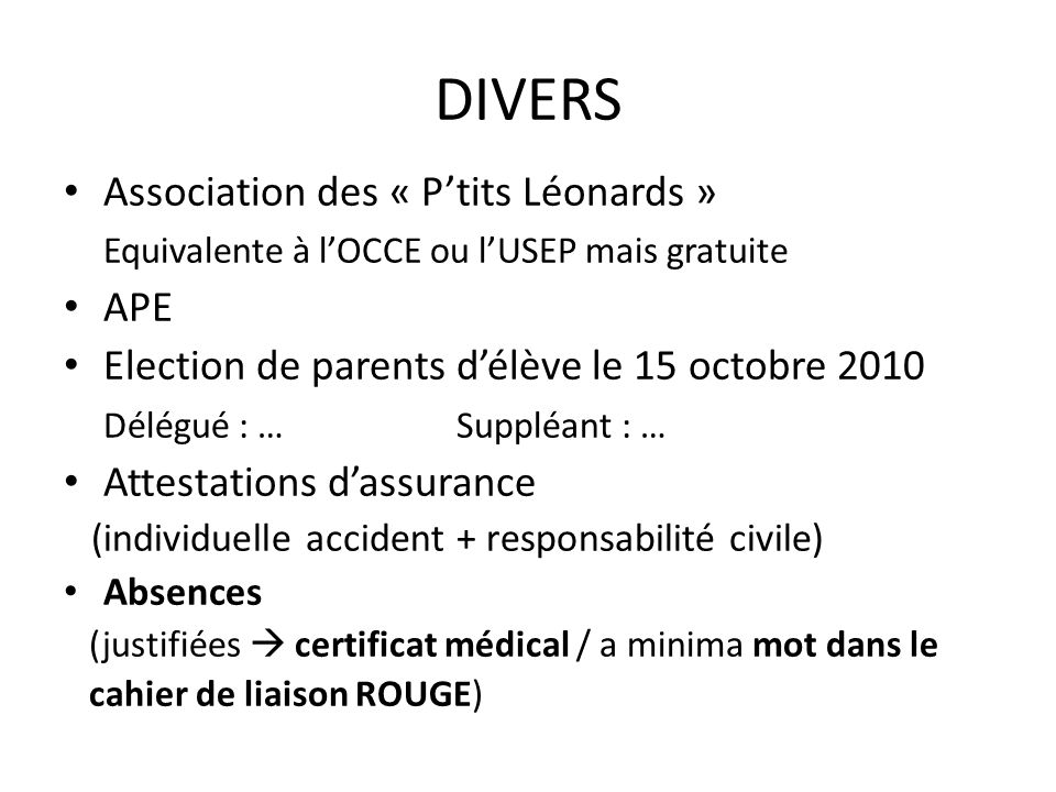 DIVERS Association des « P'tits Léonards »