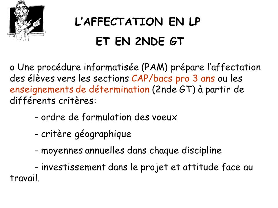 L'AFFECTATION EN LP ET EN 2NDE GT