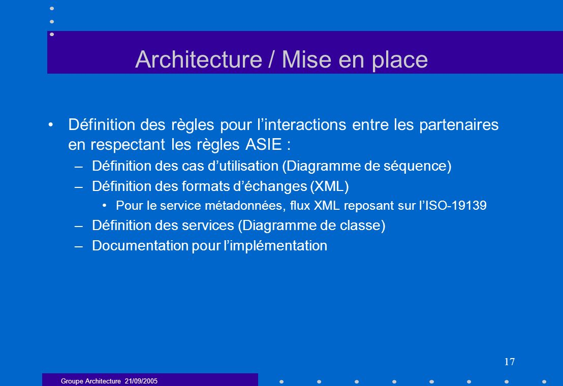 Architecture / Mise en place