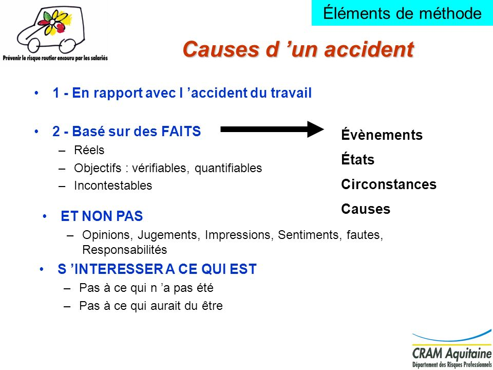 Causes d 'un accident Éléments de méthode