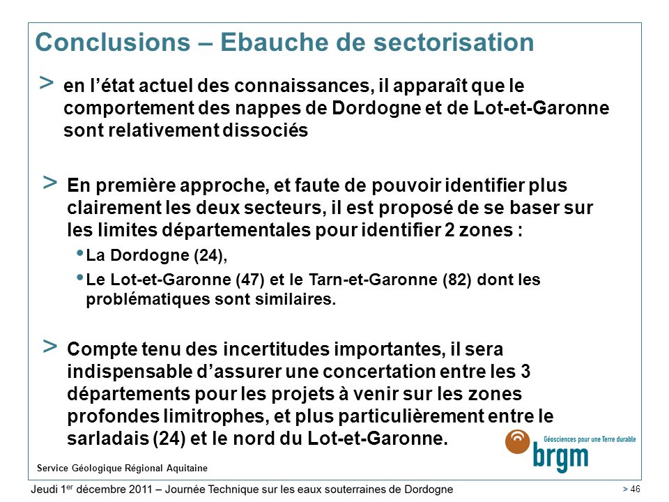 Conclusions – Ebauche de sectorisation
