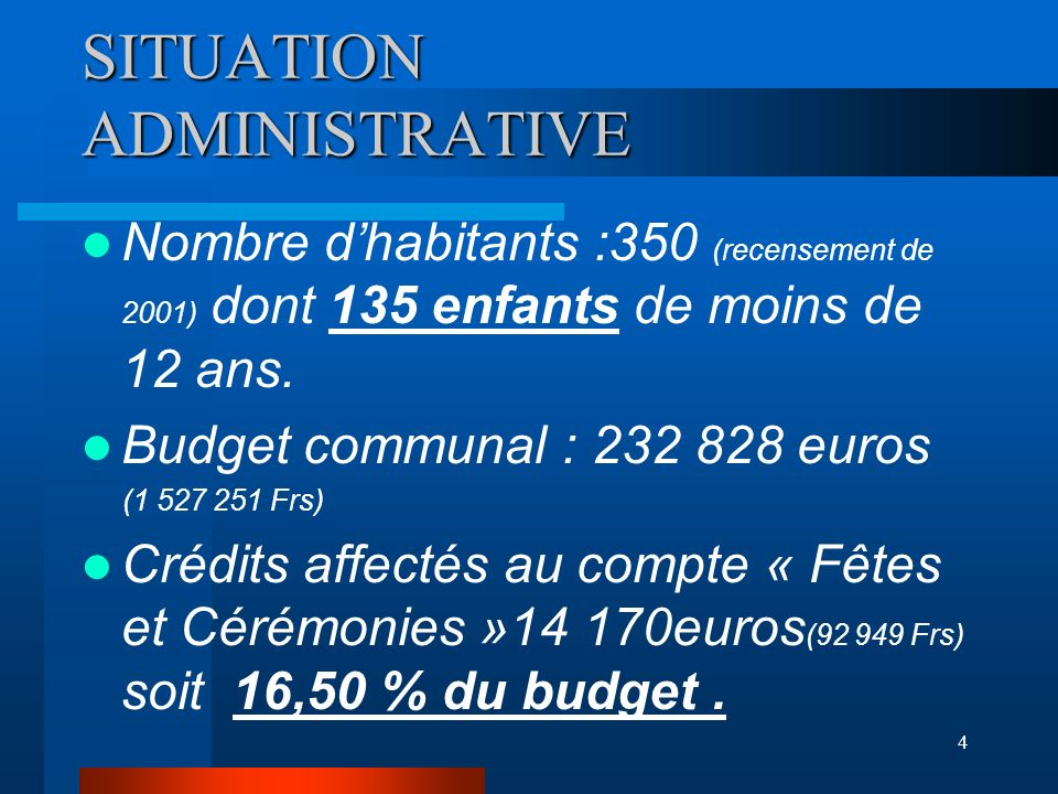 SITUATION ADMINISTRATIVE