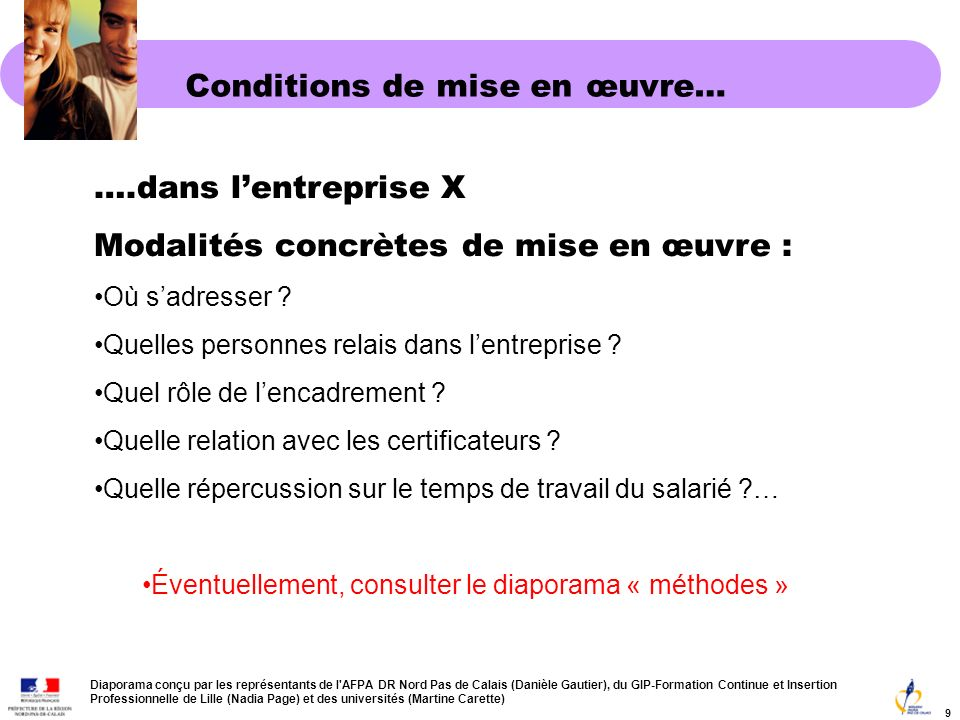 Conditions de mise en œuvre…