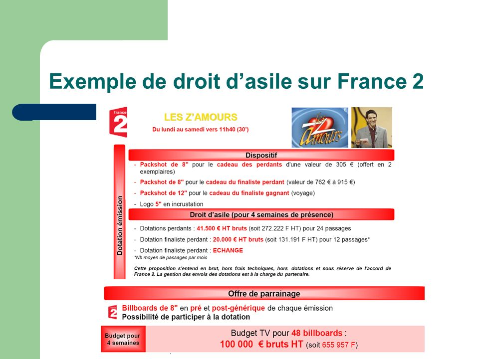 Exemple de droit d'asile sur France 2