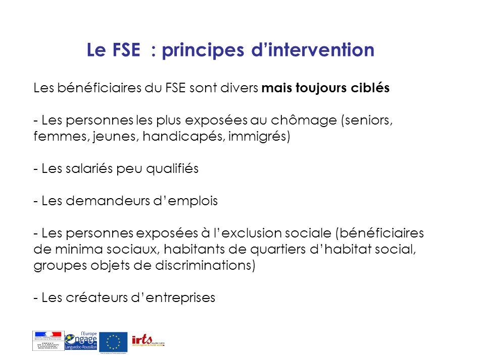 Le FSE : principes d'intervention