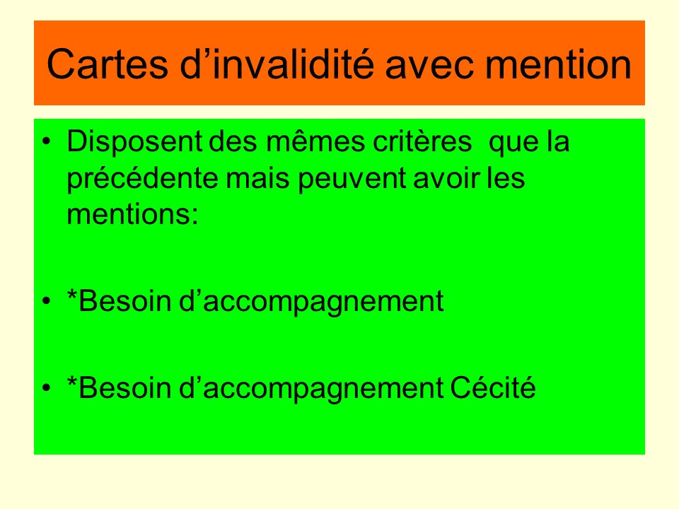 Cartes d'invalidité avec mention