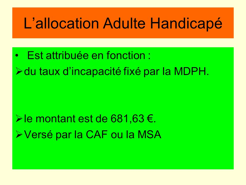 L'allocation Adulte Handicapé